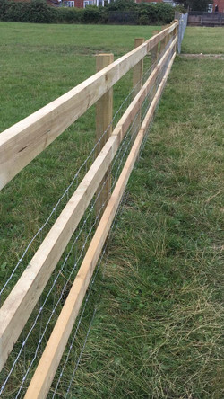 Post and rail with stock netting