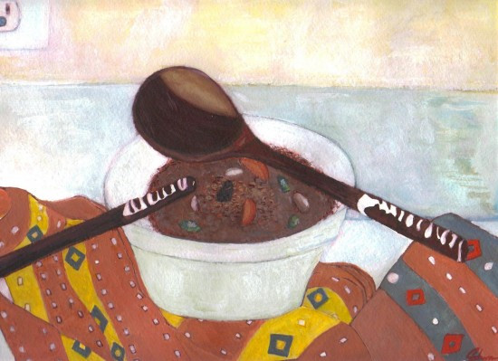West African Beef Stew and Spoons