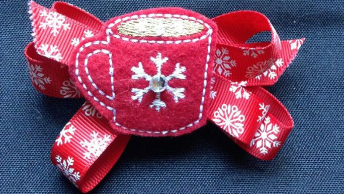 Little Girls Snowflake Hair Bow with Holiday Hot Chocolate Mug