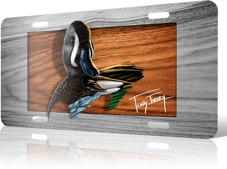 Blue Wing Teal License Plate