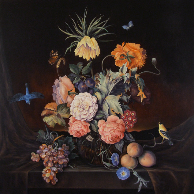Floral Still Life with Fruit, Birds and Butterflies