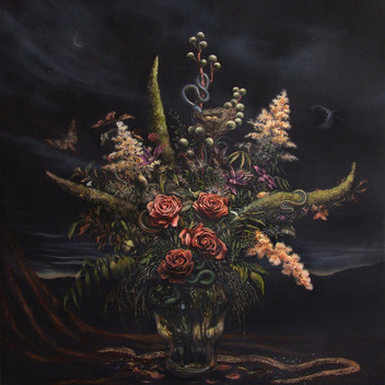 Floral Still Life with Snakes and Moths