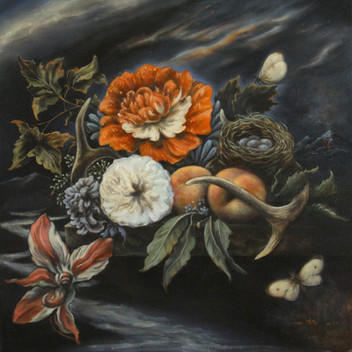 Floral and Fruit Still Life with Antlers, Eggs and Moths