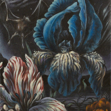 Nocturnal Floral with Bat
