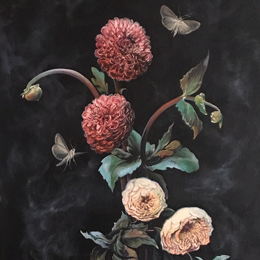 Floral Still Life with Moths