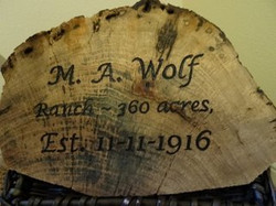 Wolf Ranch Plaque, Jeff Stuewe lettering 3212