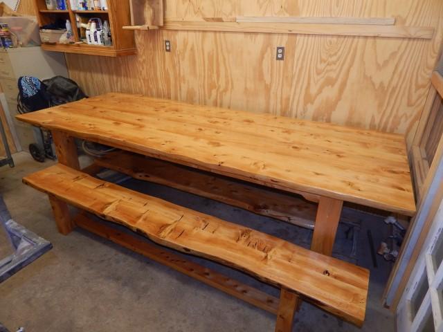 Deador Cedar table and bench 2139