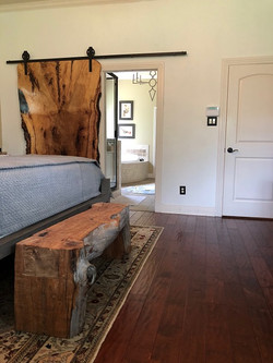 Hican door and hand hewn bench, j shermo