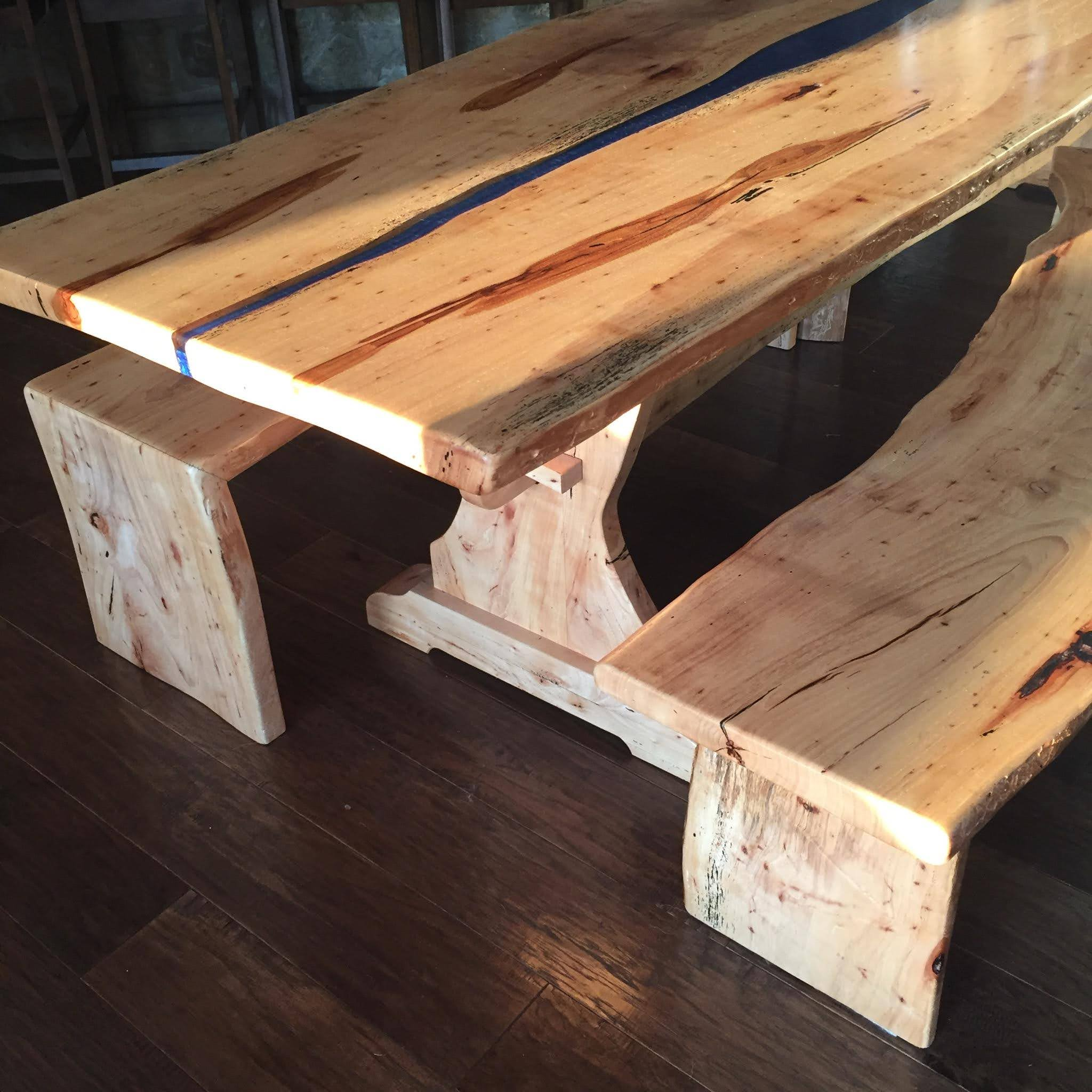 Pecan river table and benches_5180