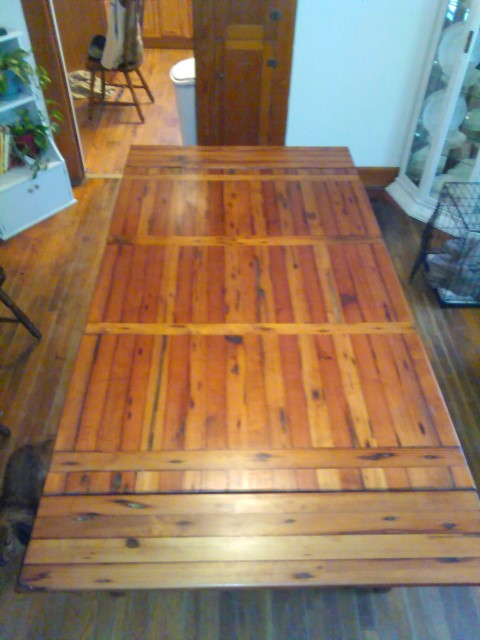 Longleaf pine table leaf added,  Paw Paws Custom Crafts 1