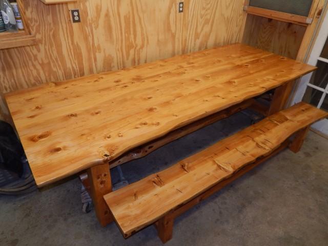 Deador Cedar table and bench 2140