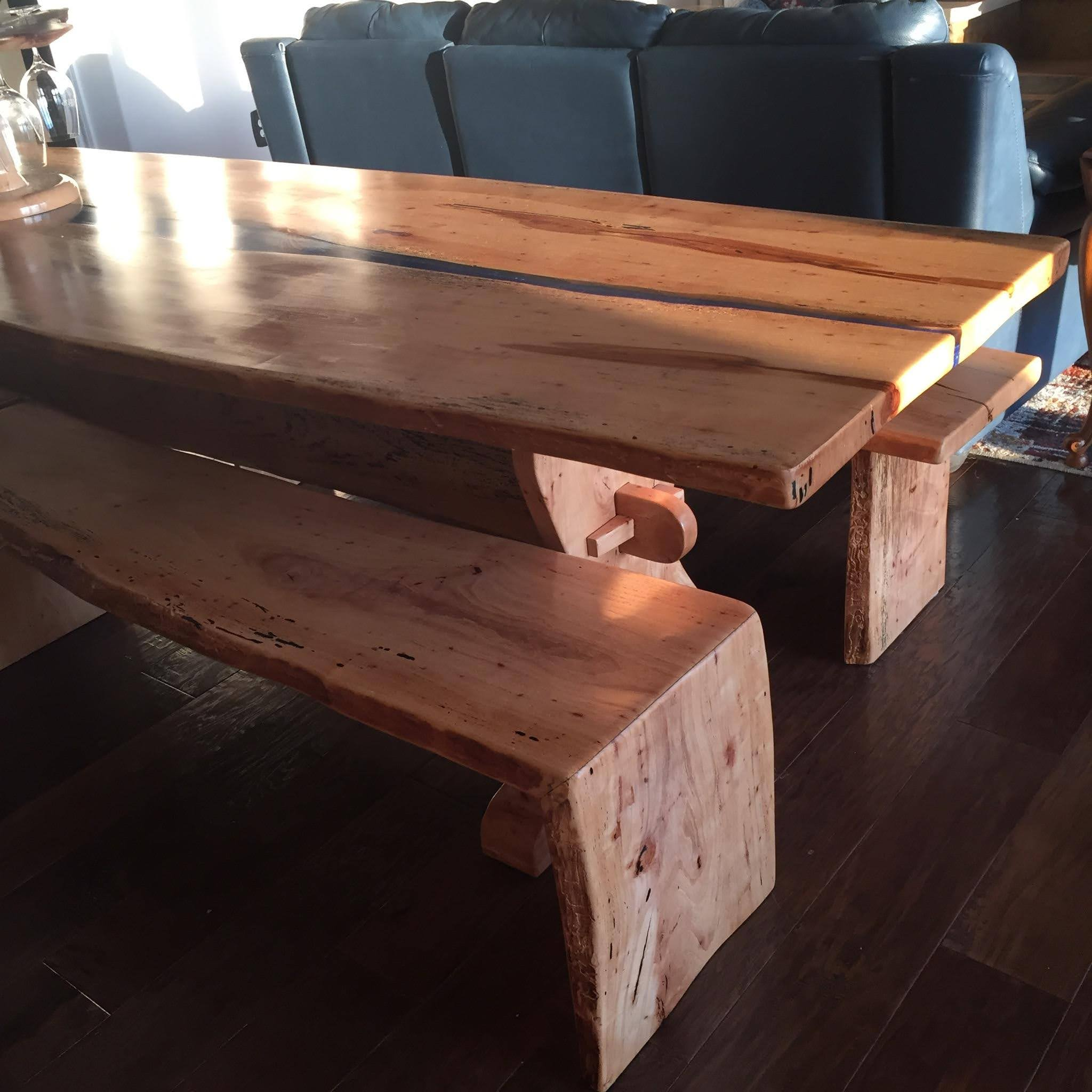 Pecan river table and benches_955181