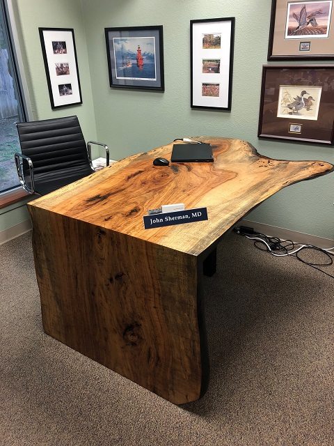 Pecan waterfall desk, John Sherman_5815.