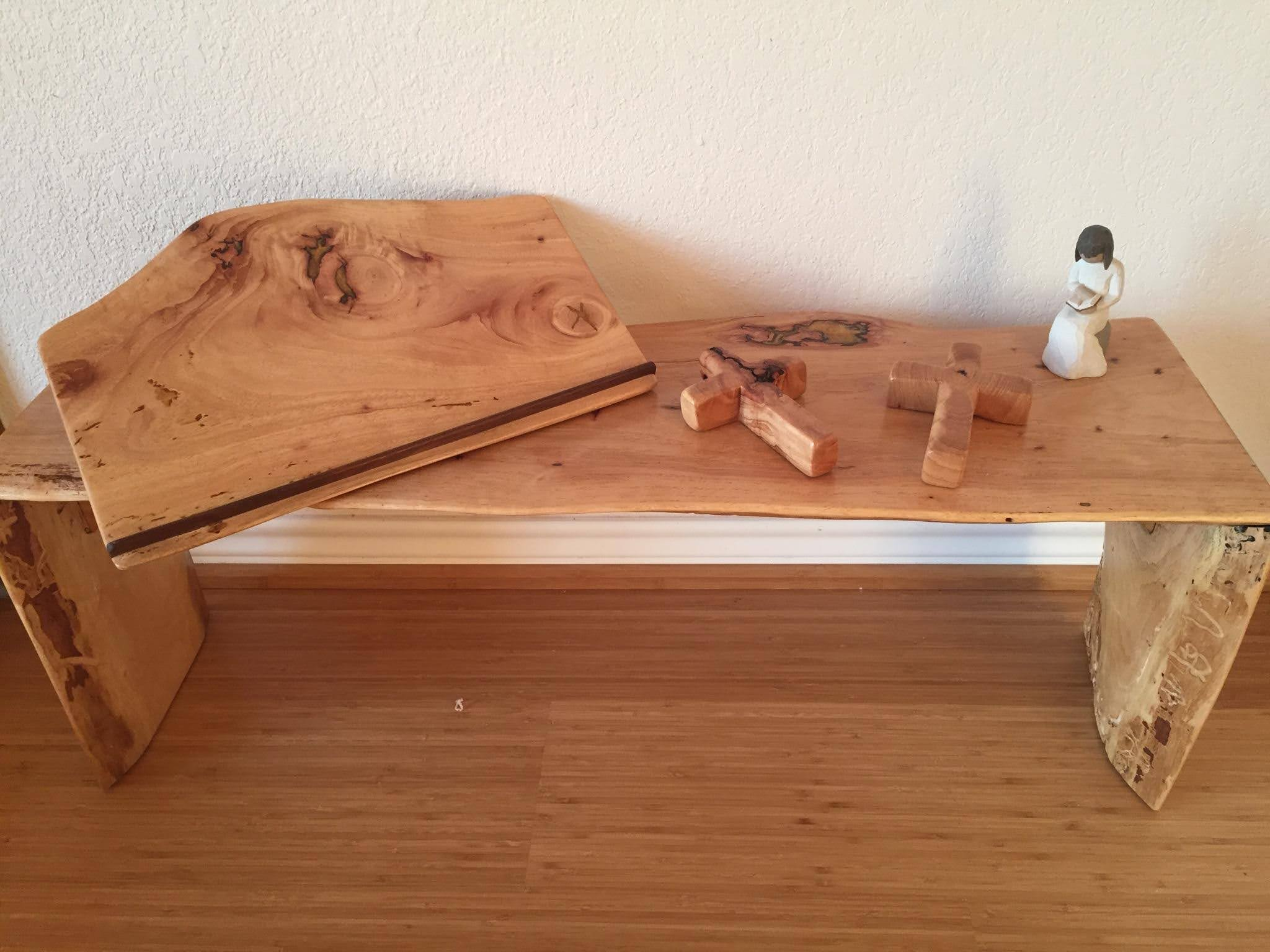 kneeling bench, Bible stand and crosses_
