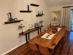 Mesquite table , side table and shelves.
