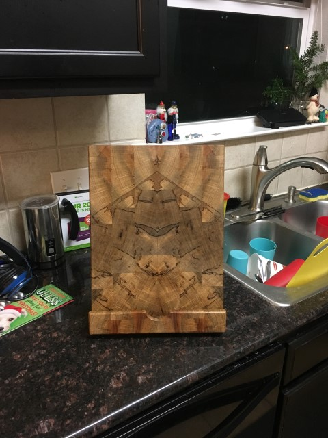 Pecan, spalted, Ipad holder, Pete Lehmann 2965