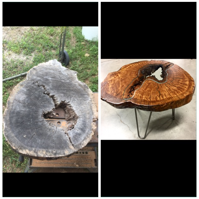 Abby  Rustin Oak crosscut end table before and after _6469