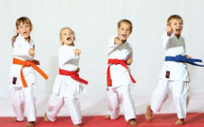 kids having fun in Master Kim's Taekwondo school