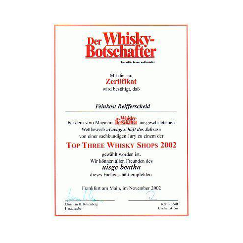 2002: Platz 1 Bester Whiskyshop