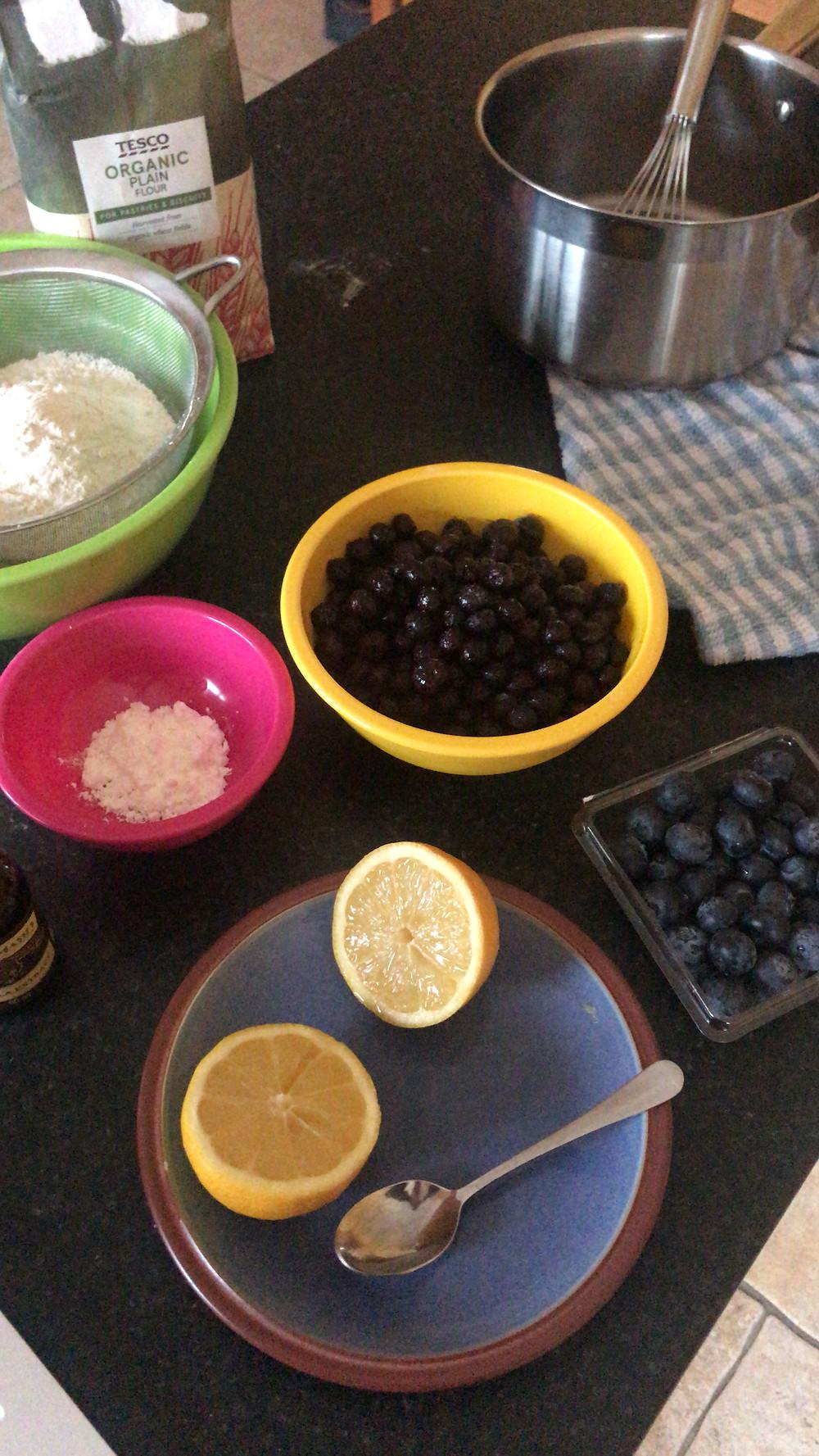 Ingredients for blueberry vegan pop tarts.