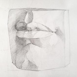 Lips cast drawing study