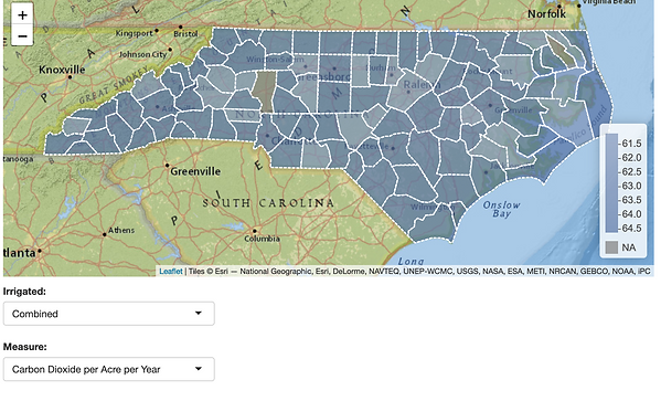 County-by-county data on carbon-sequestration potential for North Carolina.
