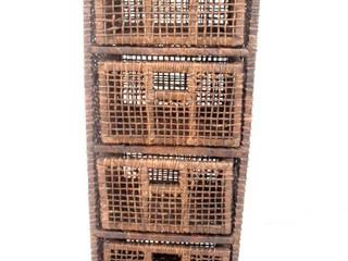 Gaveteiro palha 4 gavetas magro envelhecido