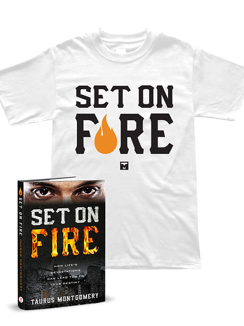 Set On Fire Autographed Book/SF T-Shirt