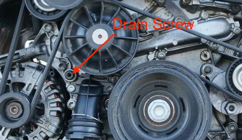Drain coolant from crankcase