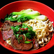 Spicy Gravy Beef slices on Noodles
