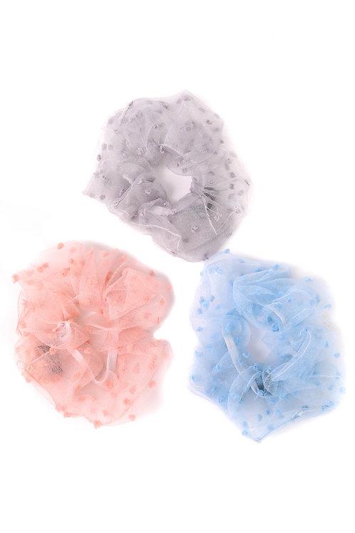 Three Piece Sheer Hair Scrunchies Set