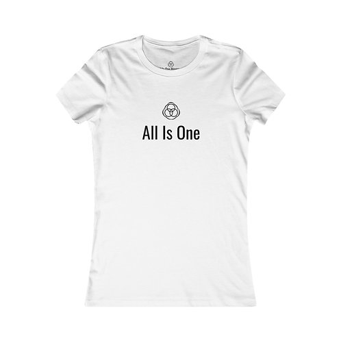 "All Is One Original Woman's White T-Shirt - ""All Is One"" with Symbol"