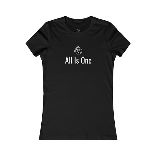 """All Is One Original Woman's Black T-Shirt - """"All Is One"""" with Symbol"""