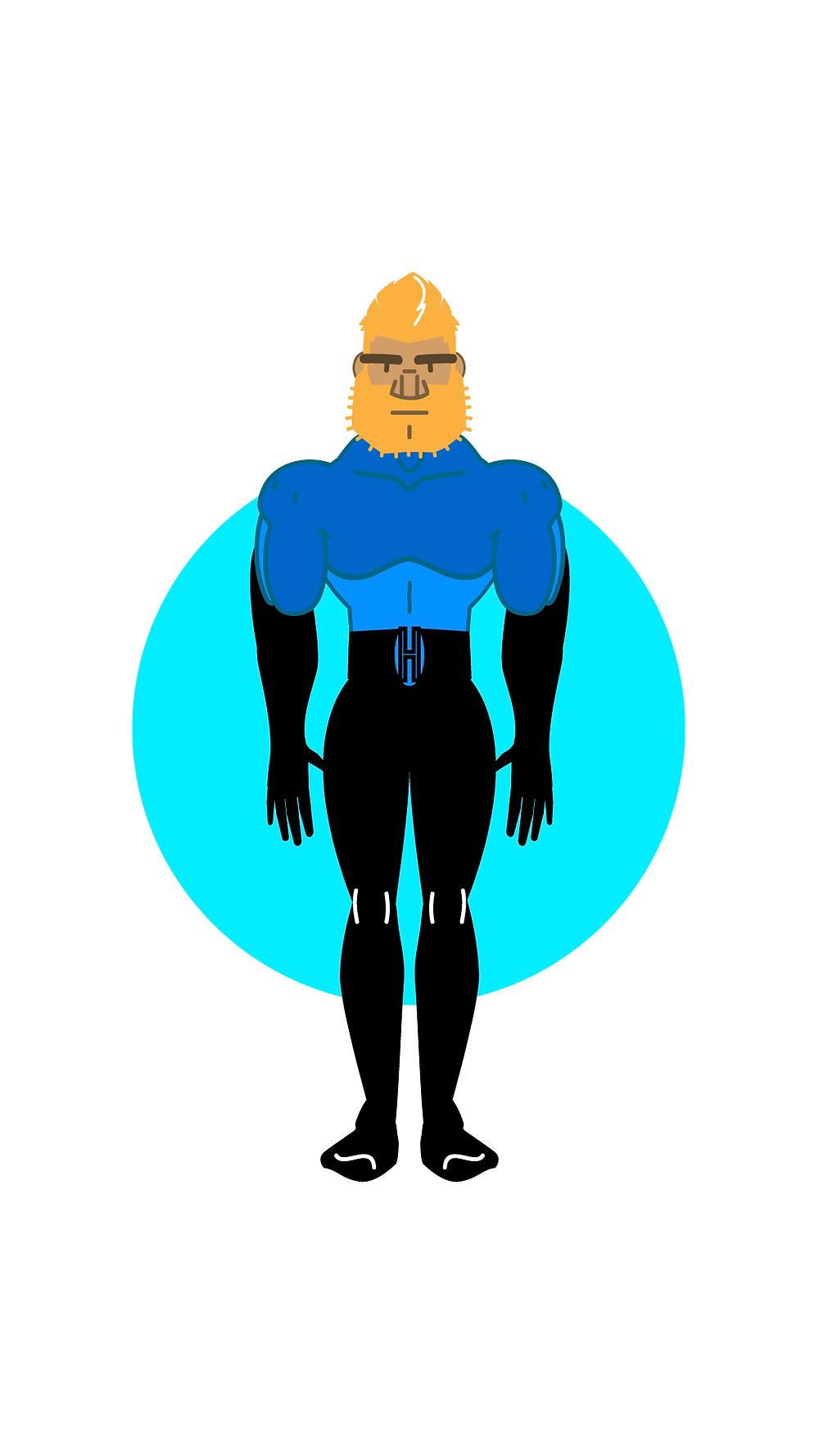 HackUman Blue, Faced, Vectored