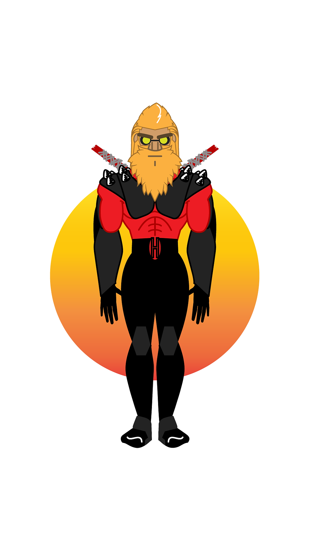 HackUman Red, Faced, Vectored
