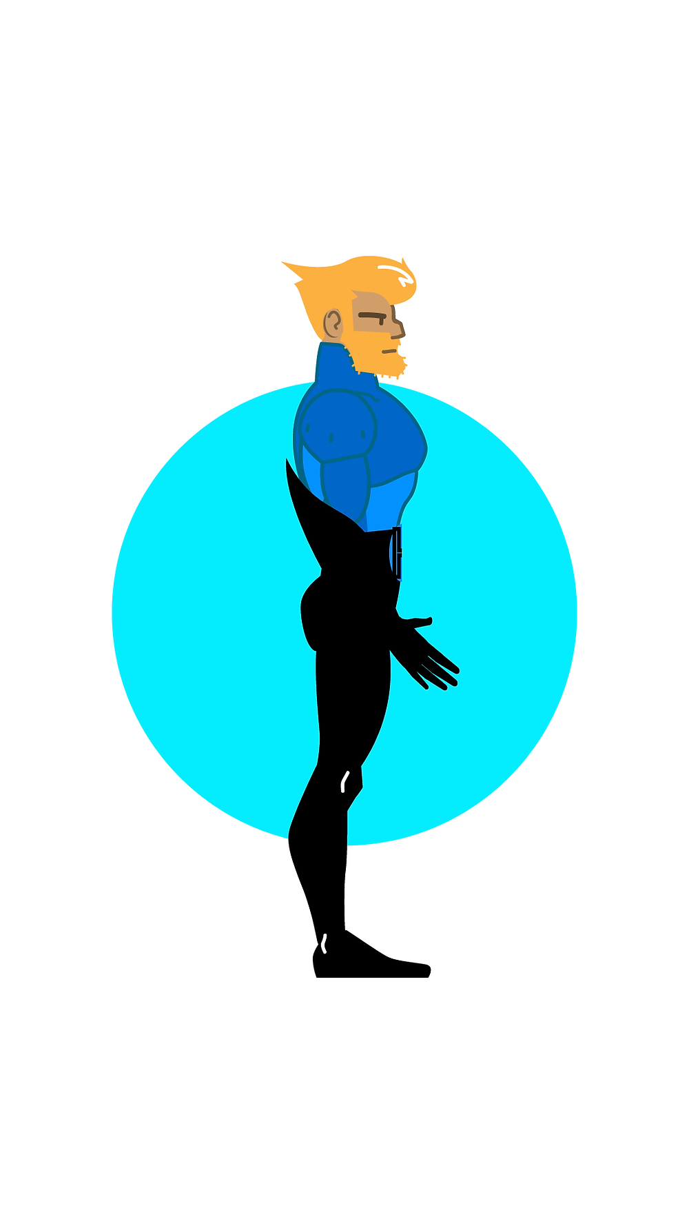 HackUman Blue, Profile, Vectored