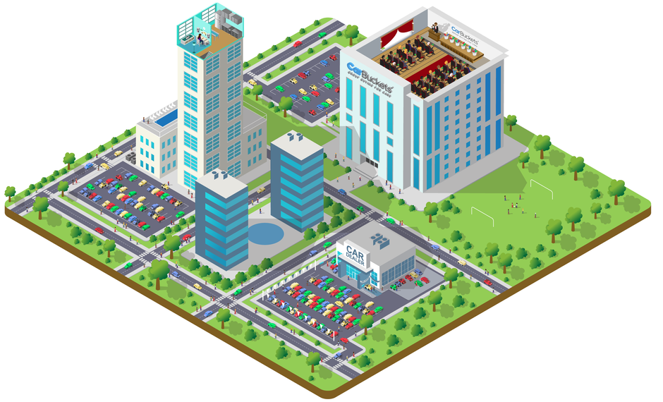 Bucket City / CarBuckets.com - Isometric Vector Art