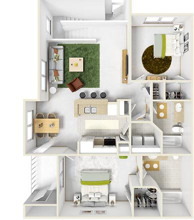 large 2 bedroom 2 bath apartment for rent in Pella