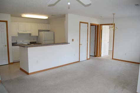 Kitchen and Entry, 1 Bedroom Unit