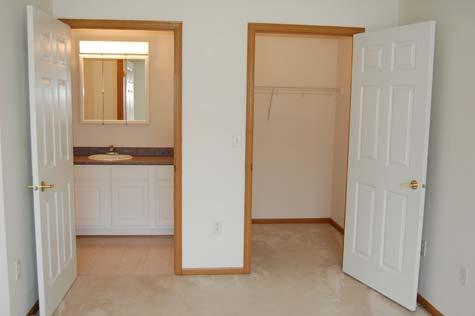 Bathroom and Closet, 1 Bedroom Unit