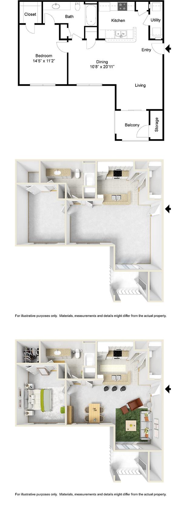 1 bedroom 1 bath apartment for rent in Pella