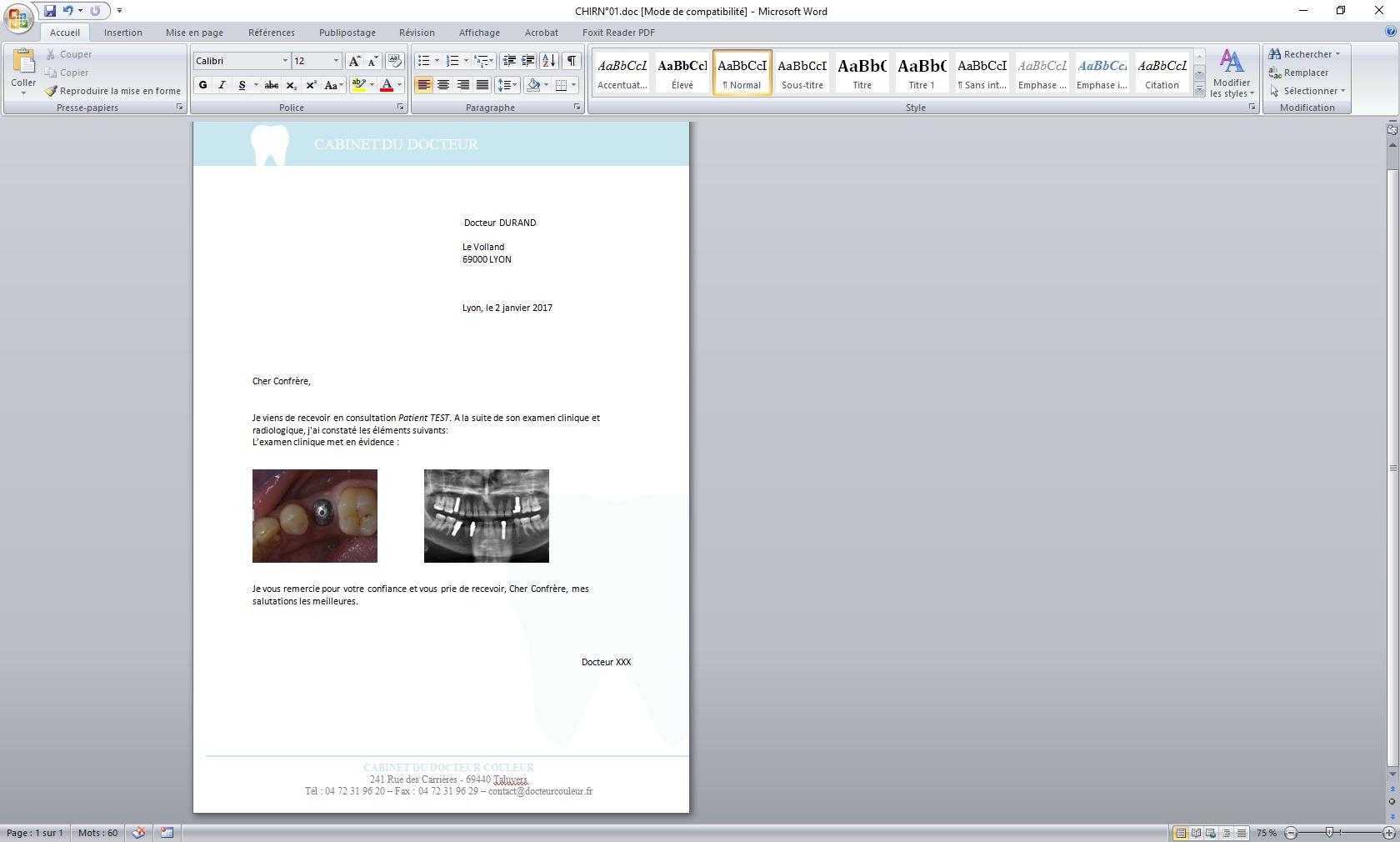 Editeur de courriers avec photos