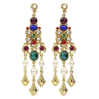 Victoria Multicolor Trivoli Crystal Pearl Drop Post Earrings