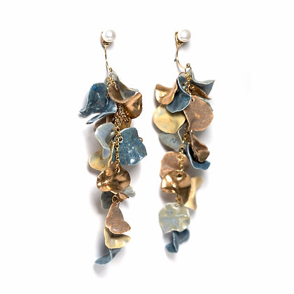 Aurea Bloom earrings (L)- Blue/Gold