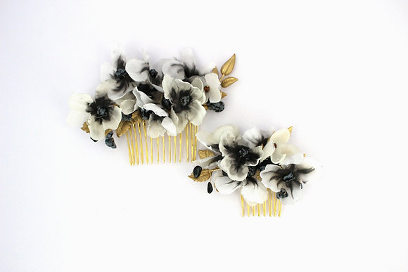 Watercolored Silk Floral Combs Sets