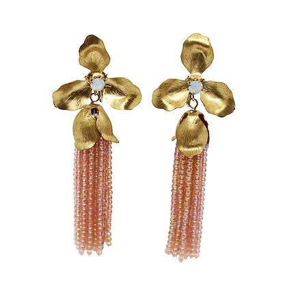 Brass floral tassel earrings