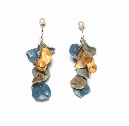 Aurea Bloom earrings (S) - Blue/Gold