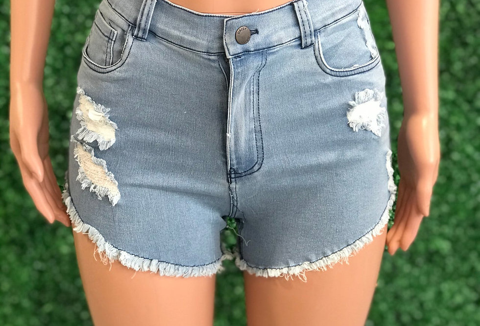Blue stitch denim short