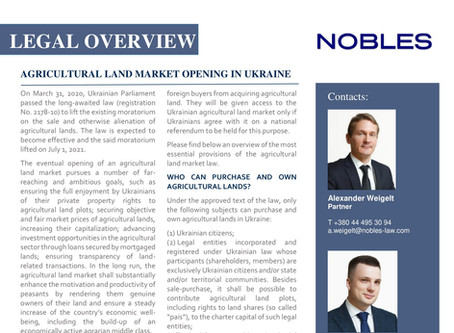 AGRICULTURAL LAND MARKET OPENING IN UKRAINE