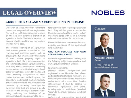 AGRICULTURAL LAND MARKET OPENING IN UKRAINE